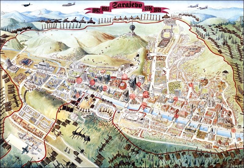 Mapa opsade Sarajeva 1992-1995